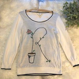 Anthropologie HWR Flower Plant Sweater